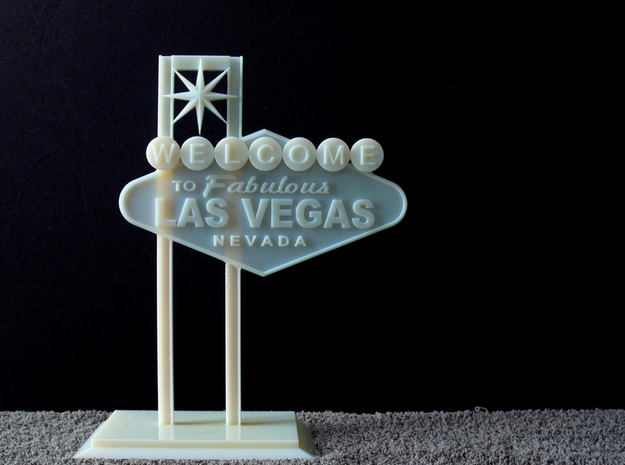Las Vegas Sign in White Natural Versatile Plastic