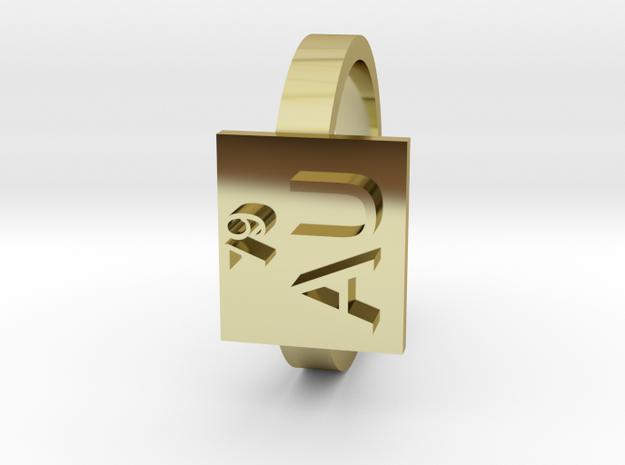 Gold Ring AU Gold Elemental Symbol in 18K Gold Plated