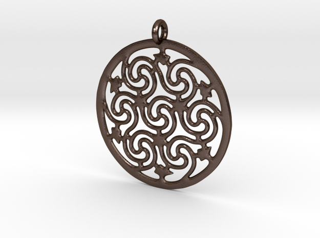 Celtic Seven Spiral Pendant in Polished Bronze Steel