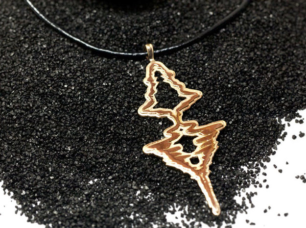 """French - """"Je t'aime"""" Sound Wave Necklace in Fine Detail Polished Silver"""