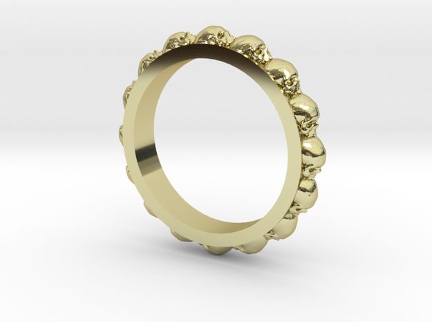 Skull Eternity Style Size 11 in 18k Gold Plated Brass