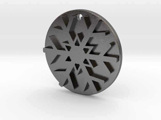 Snowflake Pendant / Keychain in Polished Nickel Steel