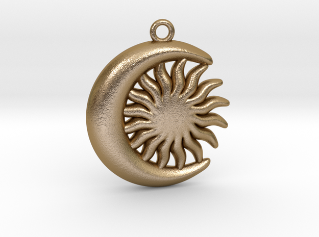 Sun&Moon Pendant L in Polished Gold Steel
