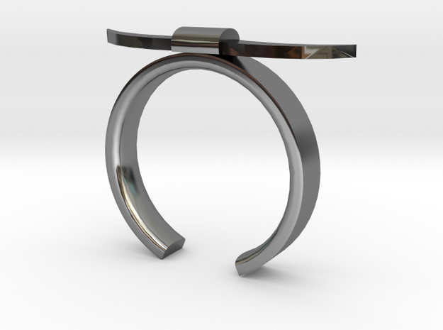Bull Horn Ring - Sz.5 in Fine Detail Polished Silver