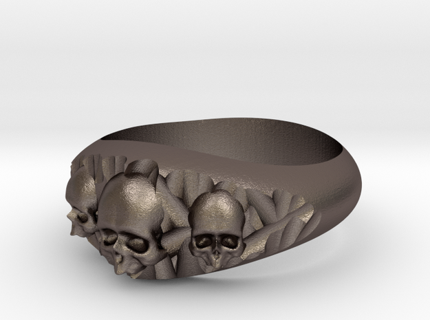 Cutaway Ring With Skulls Sz 12 in Polished Bronzed Silver Steel