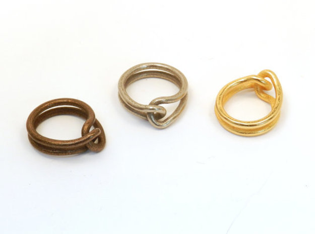 Rubber Band Ring 3d printed polished antique bronze steel, steel, polished gold steel