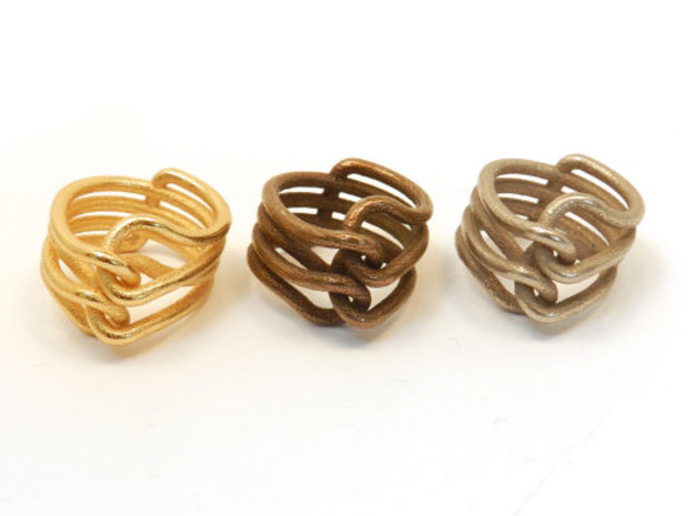 Knit Ring 3d printed polished gold steel, polished bronze steel, stainless steel