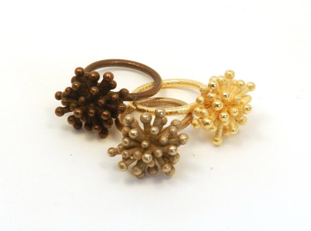 Single Starburst Ring 3d printed polished bronze steel, stainless steel, polished gold steel