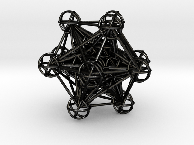 The full 3d Metatrons Cube 59mm Sacred Geometry in Matte Black Steel