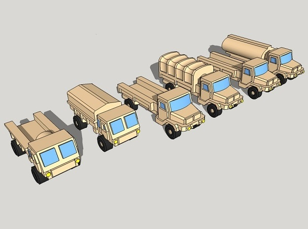 3mm SAMIL Trucks (12 Pcs) in Frosted Ultra Detail
