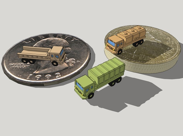 3mm Wheeled Military Cargo Trucks (12 pcs) in Frosted Ultra Detail