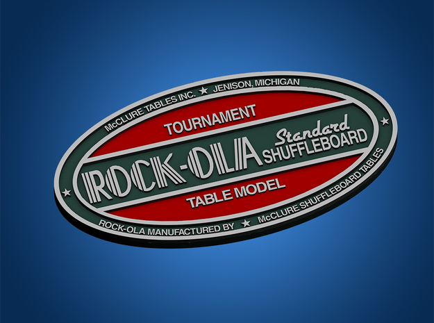 Rock-Ola Shuffleboard Badge in White Natural Versatile Plastic