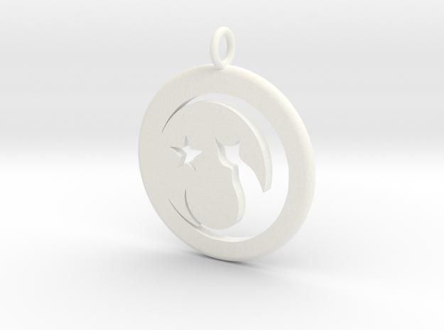 Cat Necklace in White Processed Versatile Plastic