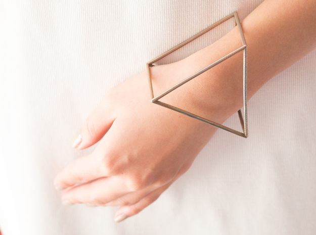 Triangle Bracelet - Medium in Polished Bronzed Silver Steel