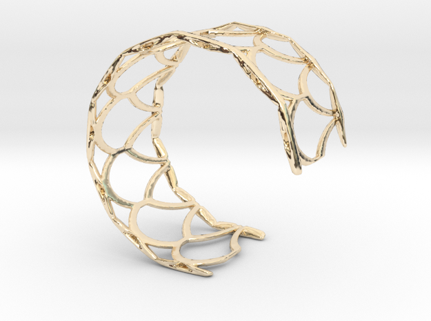 Fish Scale cuff bracelet (small/medium, snug fit) in 14k Gold Plated Brass