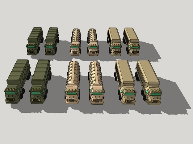 3mm Military Heavy Wheeled Cargo Trucks (12 pcs) in White Acrylic