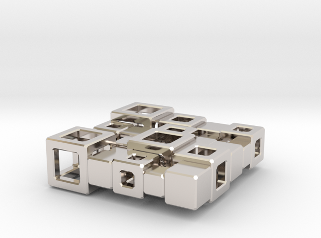 SPSS Cubes #7  in Rhodium Plated Brass