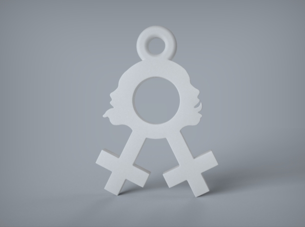 Sexy Lesbian Symbol  Earring. 3d printed