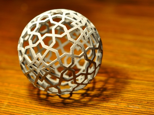 Islamic star ball with 6-pointed stars in Metallic Plastic