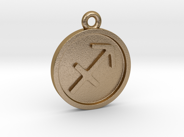 Sagittarius/Schütze Pendant in Polished Gold Steel