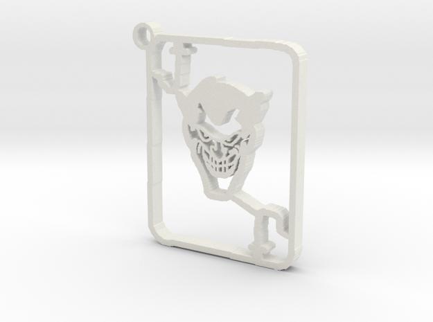 Joker Card Keychain in White Strong & Flexible