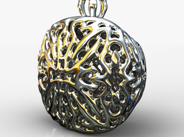 PA Pendant V21 H11x15x13PE33s1 in Fine Detail Polished Silver