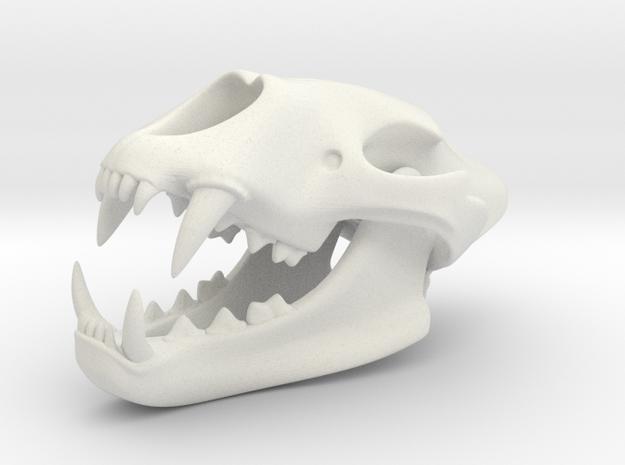 3D Printed Lion Skull in White Strong & Flexible