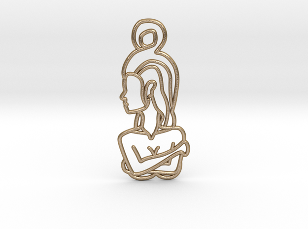 Woman Crossed Arms in Polished Gold Steel