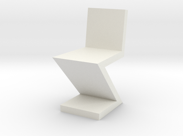 1:48 Zig Zag Chair in White Natural Versatile Plastic
