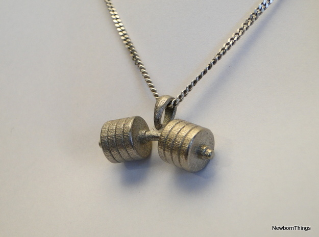 Pendant V16 - Dumbbell bent in Polished Nickel Steel