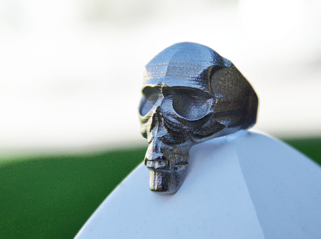 Skull Ring size 14 in White Natural Versatile Plastic