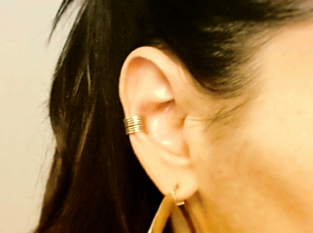 Ear Cuff - rods in Natural Brass
