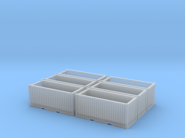 Steel Scrap bins (N scale) - set of 6 in Frosted Ultra Detail