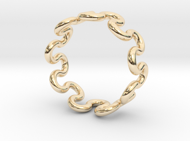 Wave Ring (15mm / 0.59inch inner diameter) in 14K Yellow Gold