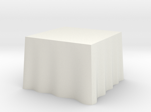 "1:48 Draped Table - 36"" square in White Natural Versatile Plastic"