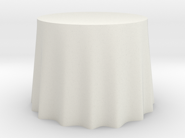 "1:48 Draped Table - 36"" diameter in White Natural Versatile Plastic"