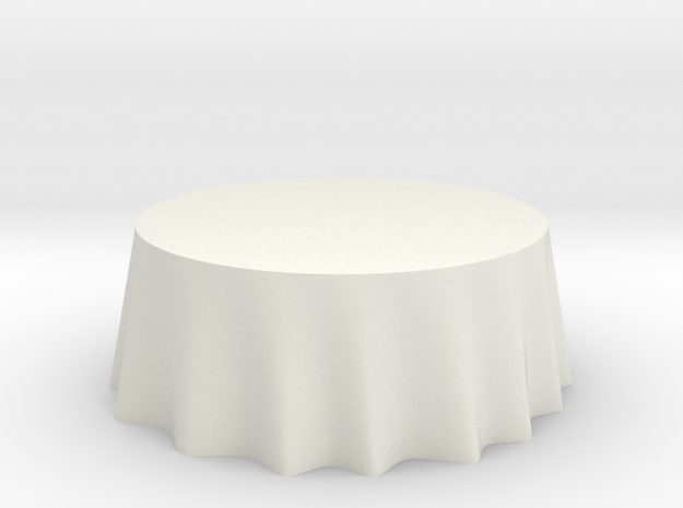 "1:48 Draped Table - 72"" diameter in White Strong & Flexible"