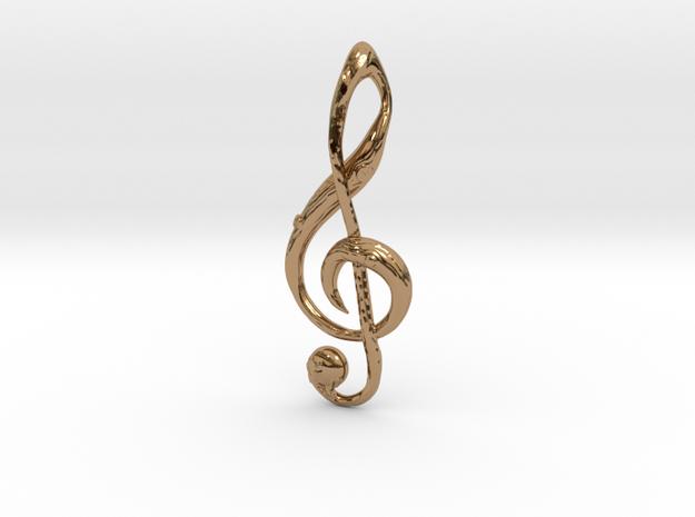 Woodgrain G-Clef Pendant in Polished Brass