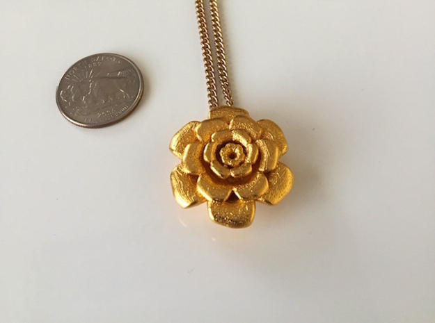 Flower Petals Pendant in Matte Gold Steel