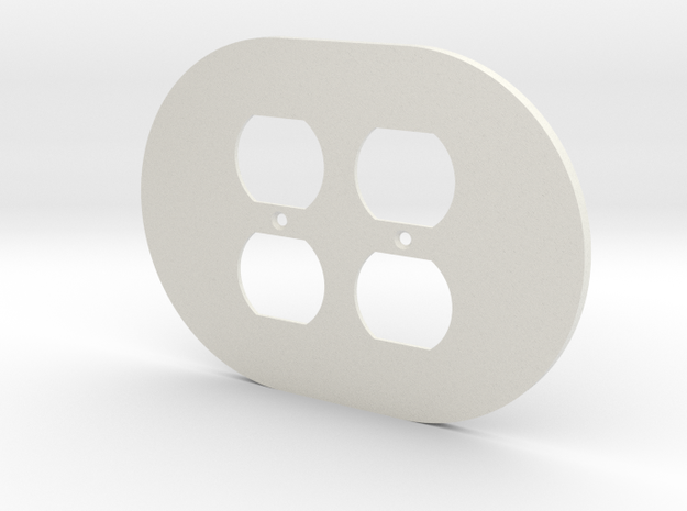 plodes® 2 Gang Duplex Outlet Wall Plate in White Strong & Flexible