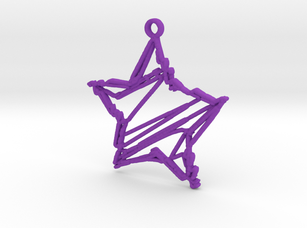 Sketch Star Pendant in Purple Processed Versatile Plastic