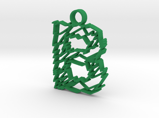 "Sketch ""B"" Pendant in Green Processed Versatile Plastic"
