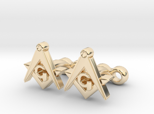 Square And Compass Freemason Cufflinks in 14K Gold