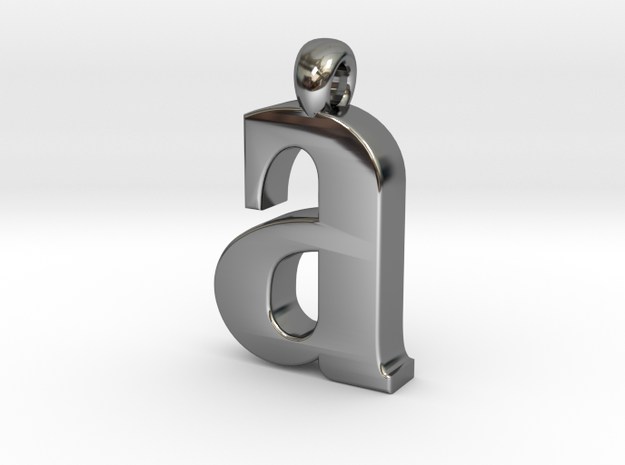 Lowercase A in Fine Detail Polished Silver