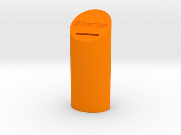 Sharps Disposal Container in Orange Processed Versatile Plastic