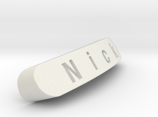 Nick Nameplate for SteelSeries Rival in White Natural Versatile Plastic
