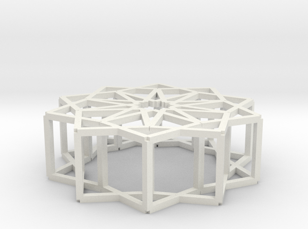 Cube Star Ornament 2.0 in White Strong & Flexible