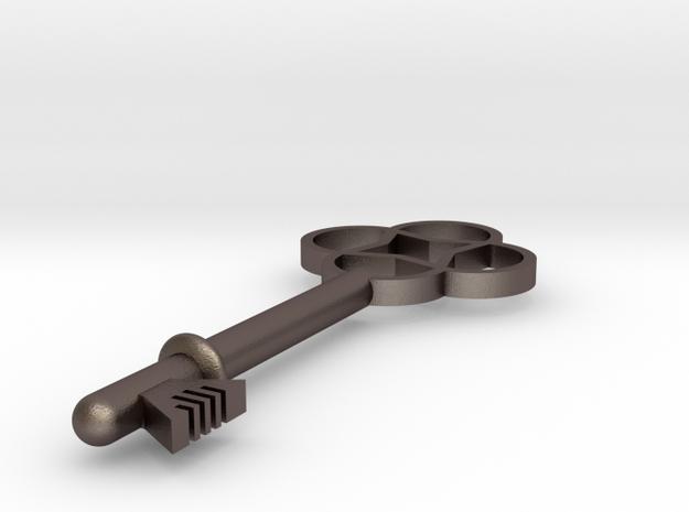 Key Pendant in Polished Bronzed Silver Steel