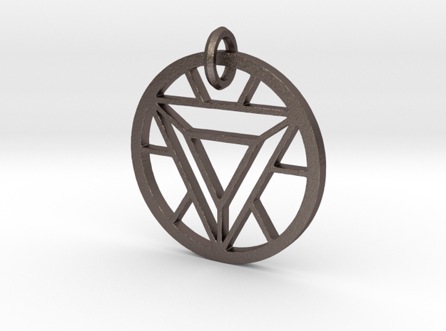 ArcReactor SilverTriangle (35mm) PENDANT in Polished Bronzed Silver Steel