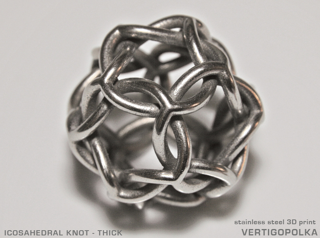 Icosahedral Knot thick in Polished Bronzed Silver Steel